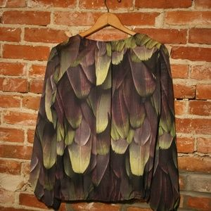 a.n.a Tops - A.N.A Split Neck Green + Purple Feathered Blouse